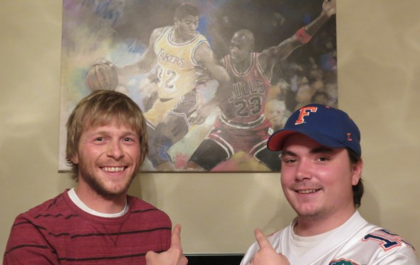Couch Side hosts Craig Paul, left, and Wade McMillin pay hommage to NBC legends Magic Johnson and Michael Jordan.